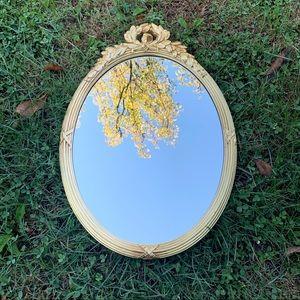 Medium Oval Wall Hanging Mirror Gold Leaf Design